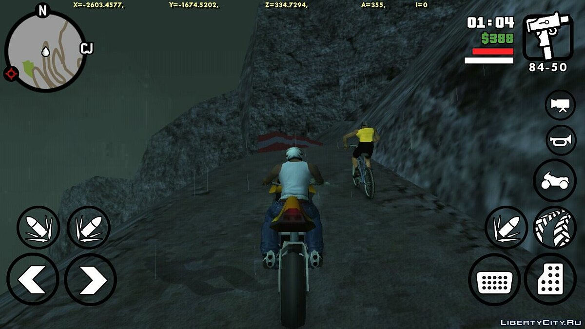 CLEO script Cyclist on Mount Chiliad for GTA San Andreas (iOS, Android)