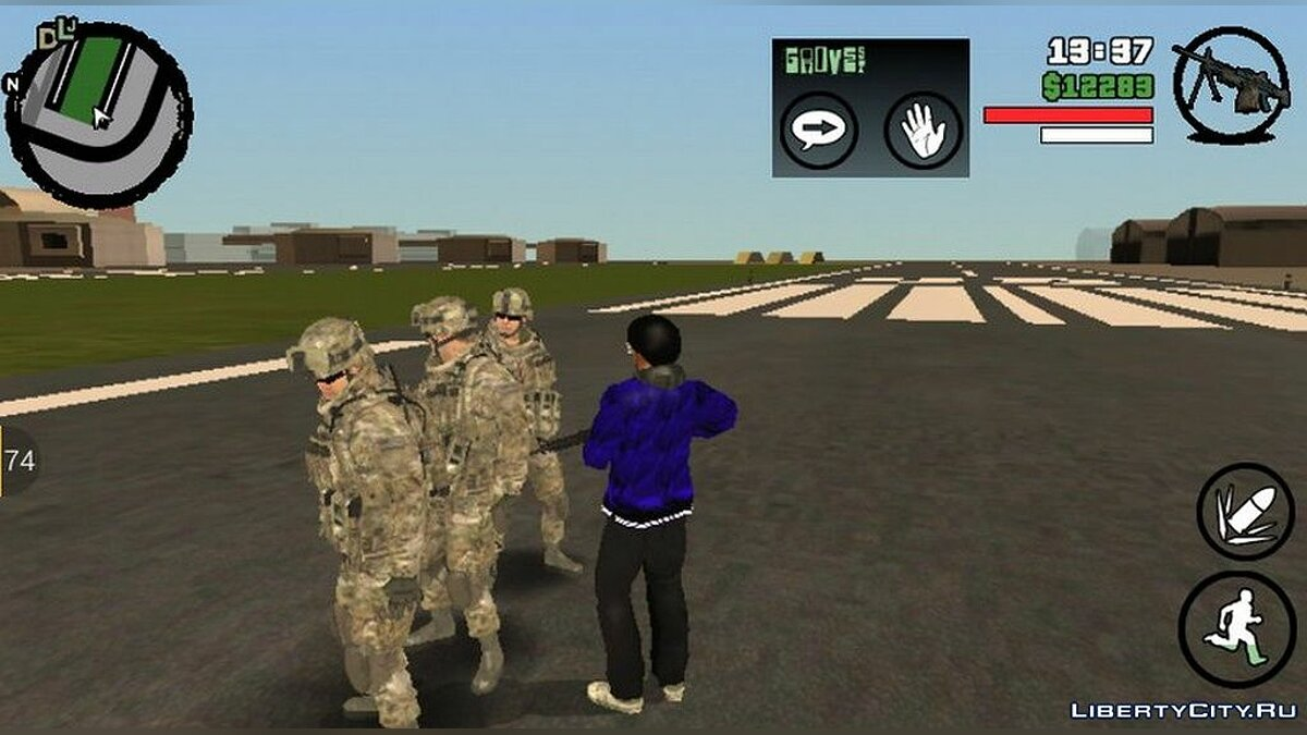 CLEO script Under the protection of the army for GTA San Andreas (iOS, Android)