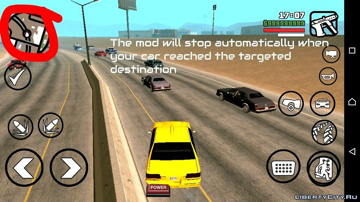 CLEO script Autopilot for car for GTA San Andreas (iOS, Android)