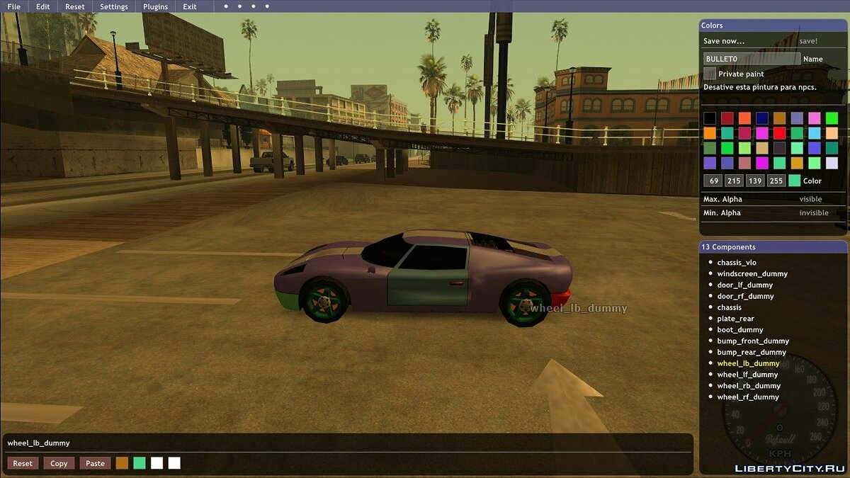 LUA script Painting cars in RGB colors - RGB Vehicle Paints v4.2 for GTA San Andreas