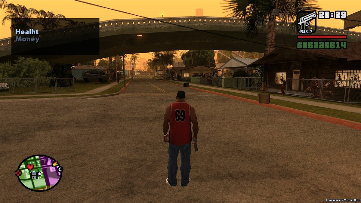 LUA script Panel of health and money for GTA San Andreas