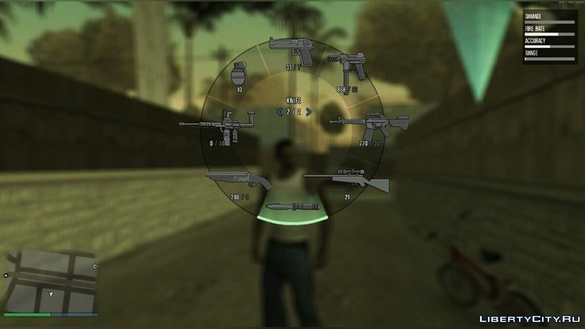 Mod Wheel of choice of weapons and XUD from GTA 5 for GTA San Andreas
