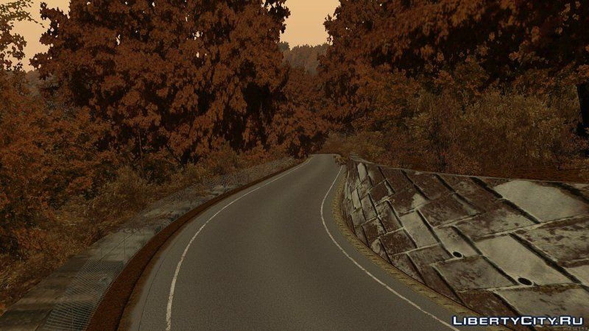 Map Nagao - track in the autumn forest for GTA San Andreas
