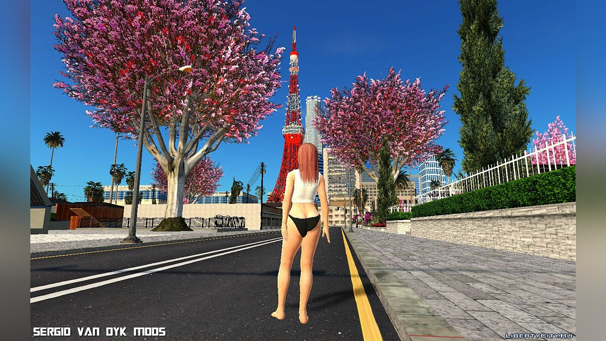 New character Honoka wearing an SSR Soft Engine T-shirt from Dead or Alive Xtreme Venus Vacation for GTA San Andreas