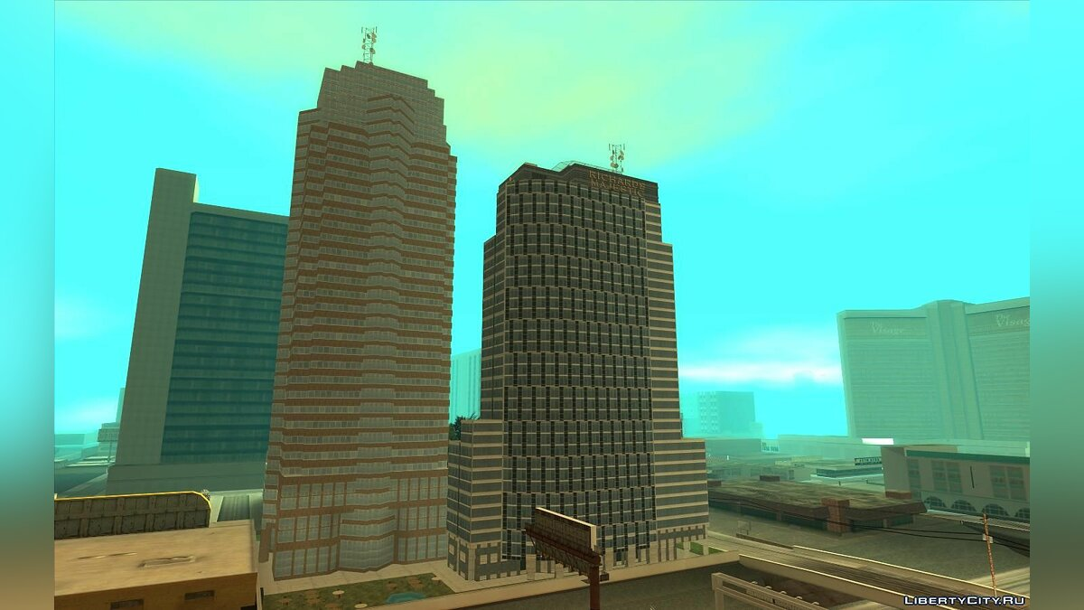 New object GTA 5 Richards Majestic - Weazel Plaza for GTA San Andreas