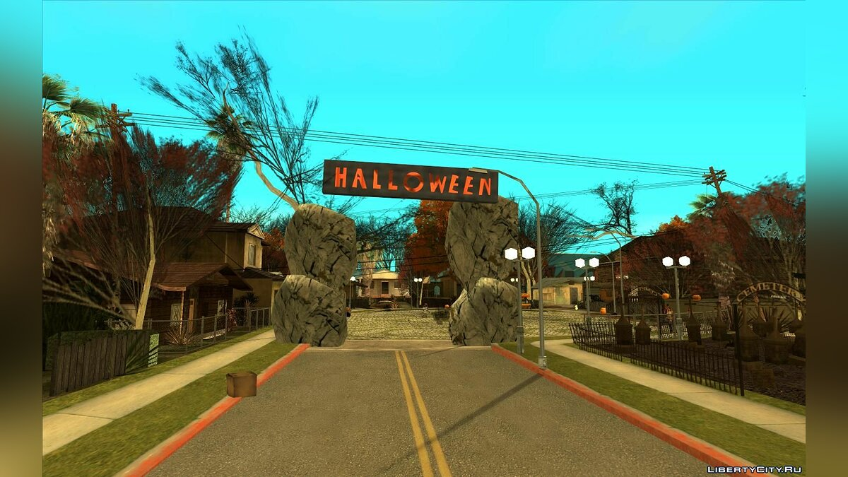 New object Halloween Decorations on Grove Street for GTA San Andreas