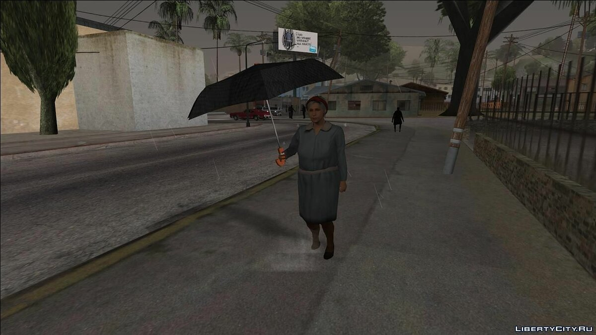 Pedestrians with Umbrellas - Hard Rain Remake for GTA San Andreas - Картинка #1