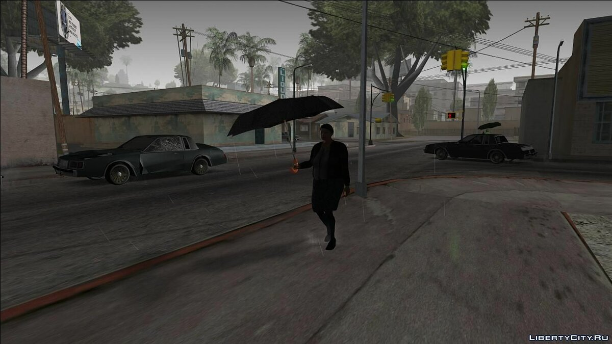 Pedestrians with Umbrellas - Hard Rain Remake for GTA San Andreas - Картинка #2