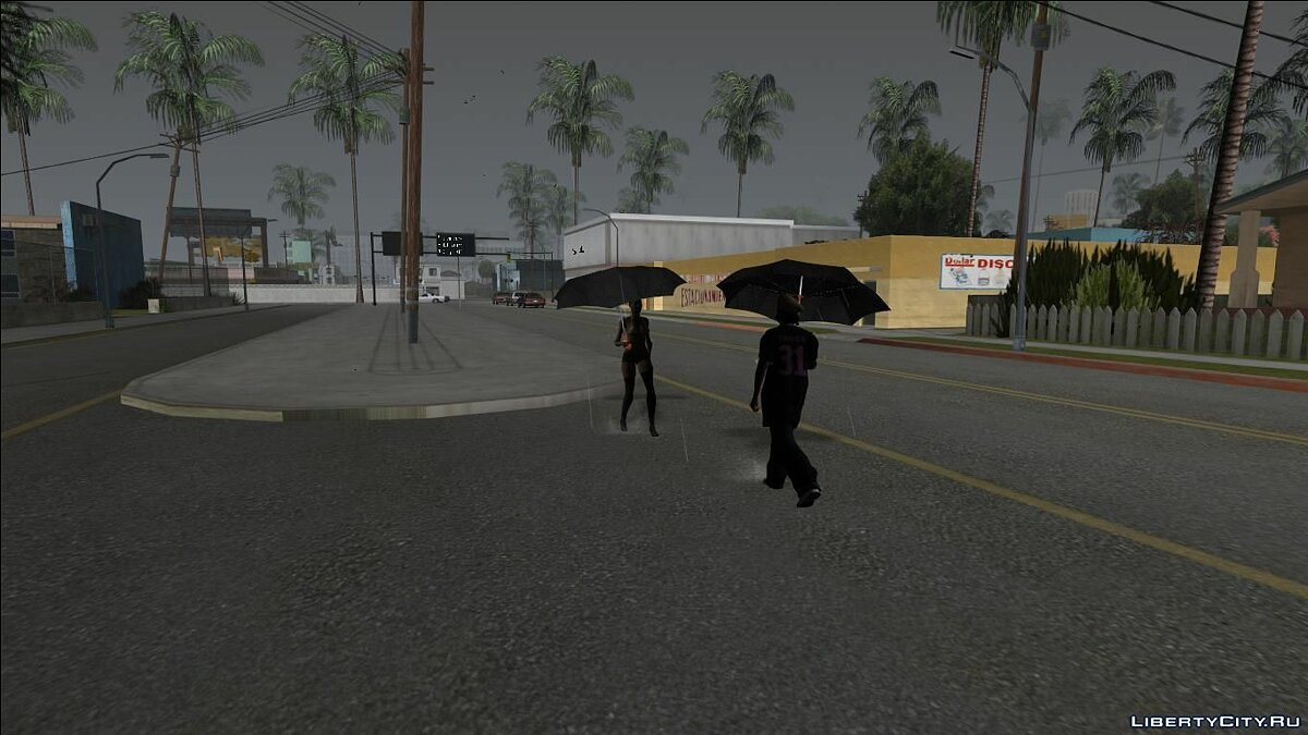Pedestrians with Umbrellas - Hard Rain Remake for GTA San Andreas - Картинка #3