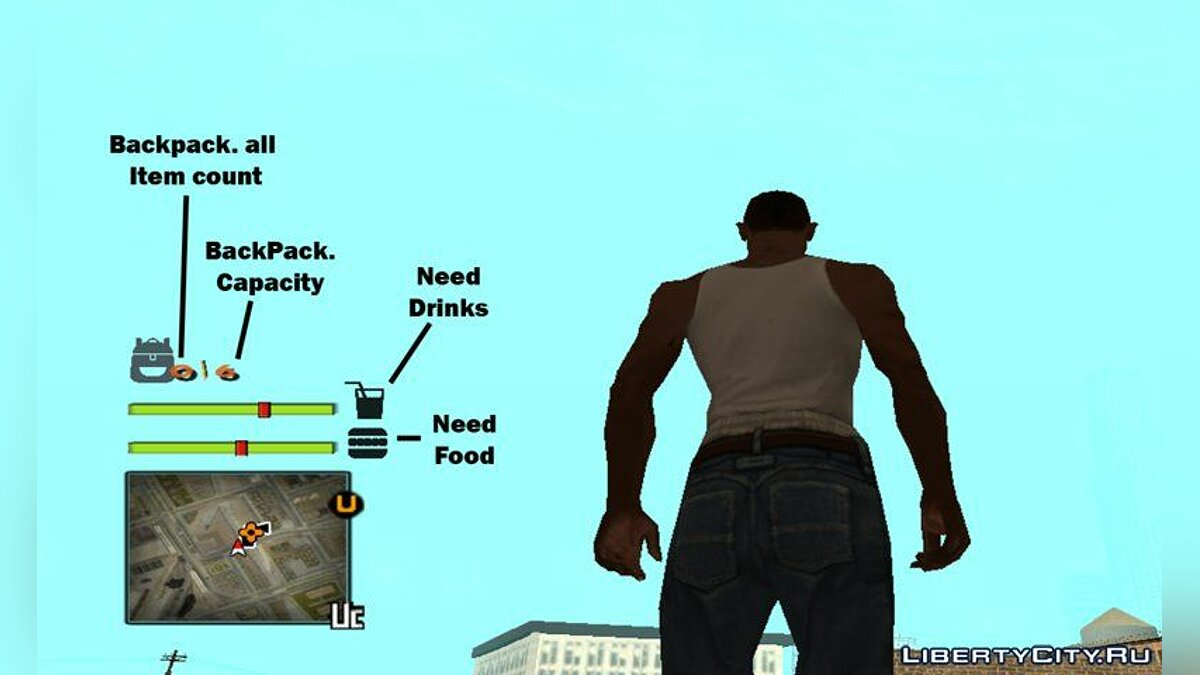 CLEO script Inventory + CJ Needs for GTA San Andreas