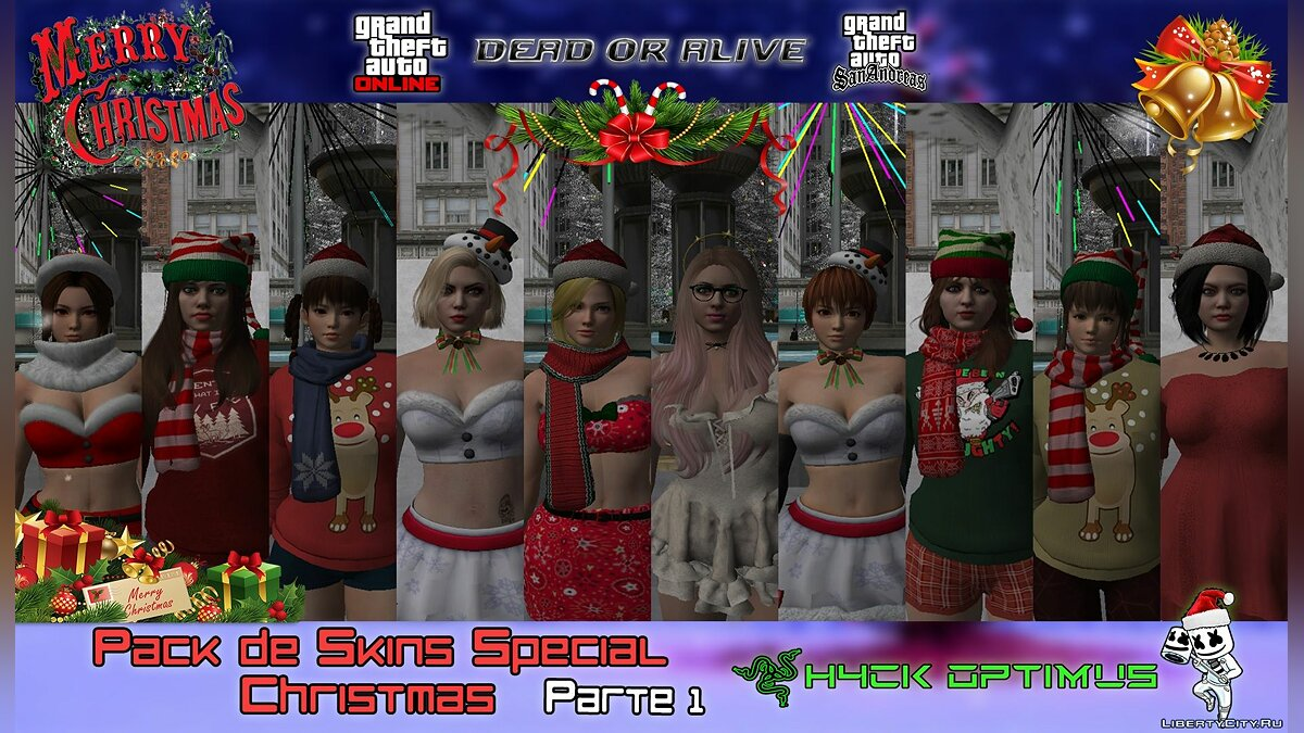 Skin packs Big collection of skins from DOA in Christmas outfit from GTA Online # 1 for GTA San Andreas