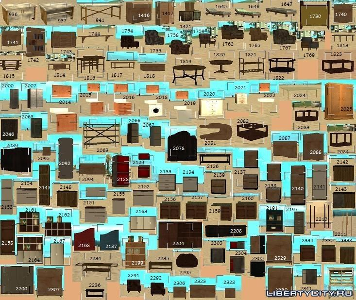 List of textures and models for MAPa for GTA San Andreas