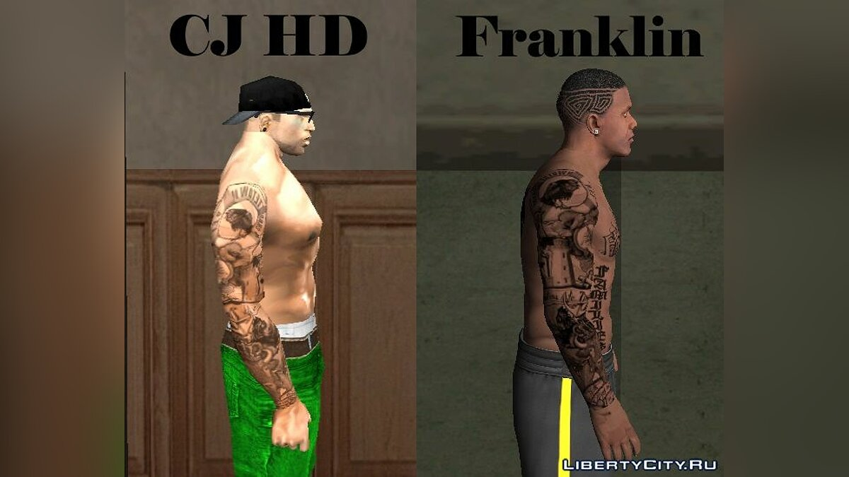 Tattoos Tatuaje variado Sleeve para CJ HD Y Franklin - Tattooed sleeve for Cj and Franklin for GTA San Andreas