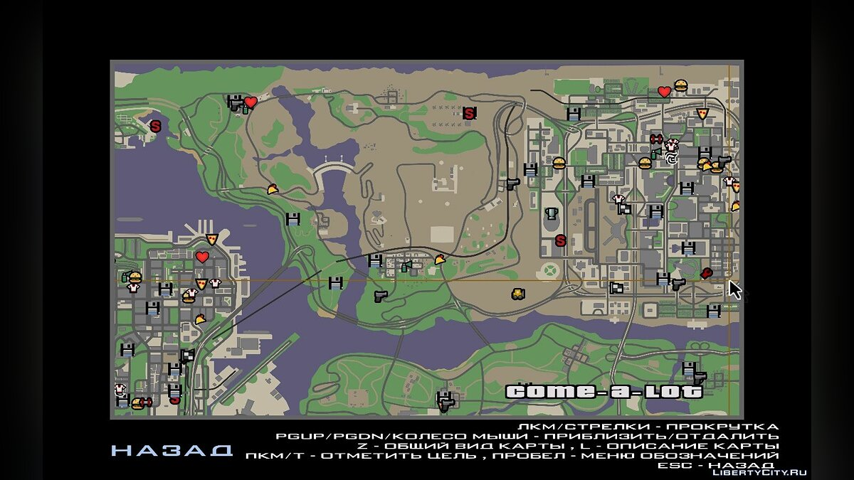 Texture mod Radar and map in the style of GTA Chinatown Wars for GTA San Andreas