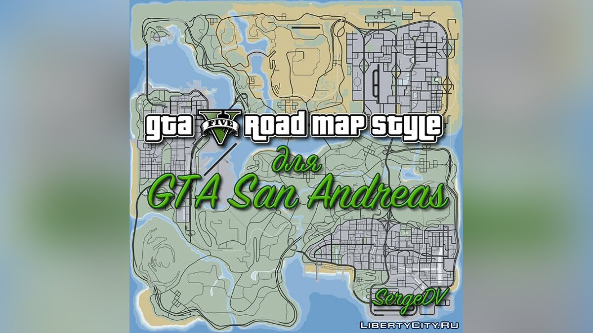 Texture mod GTA V road map style for GTA San Andreas