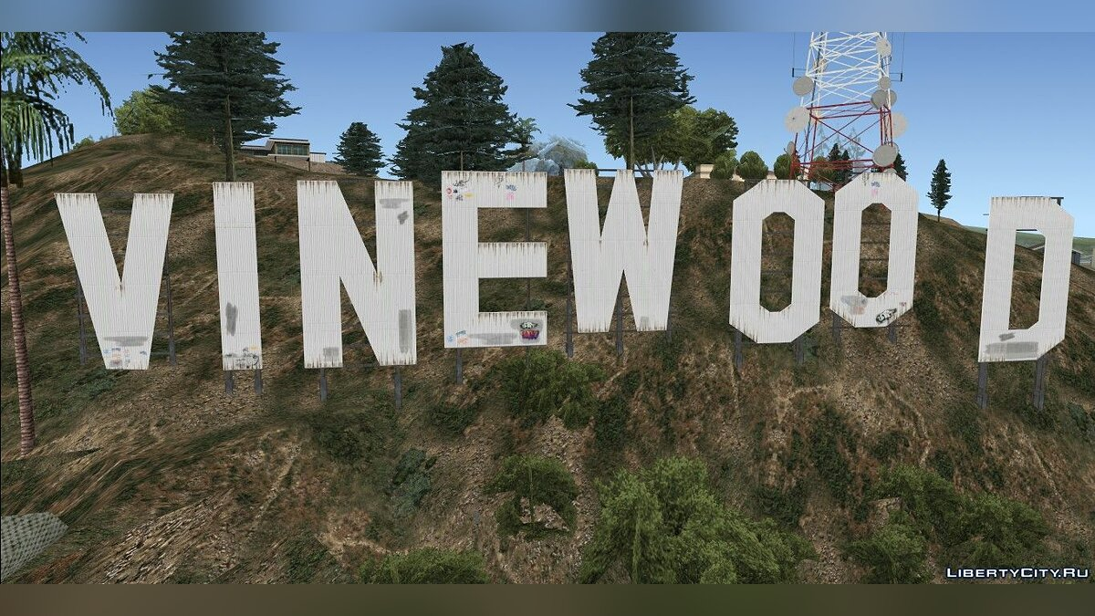 Texture mod GTA V Vinewood Sign and Tower for GTA San Andreas