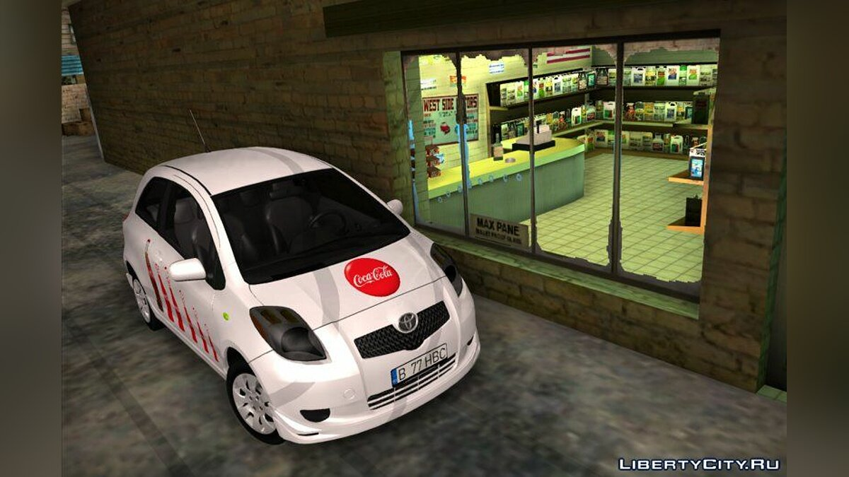 Toyota car 2008 Toyota Yaris - branded cars Coca-Cola for GTA San Andreas