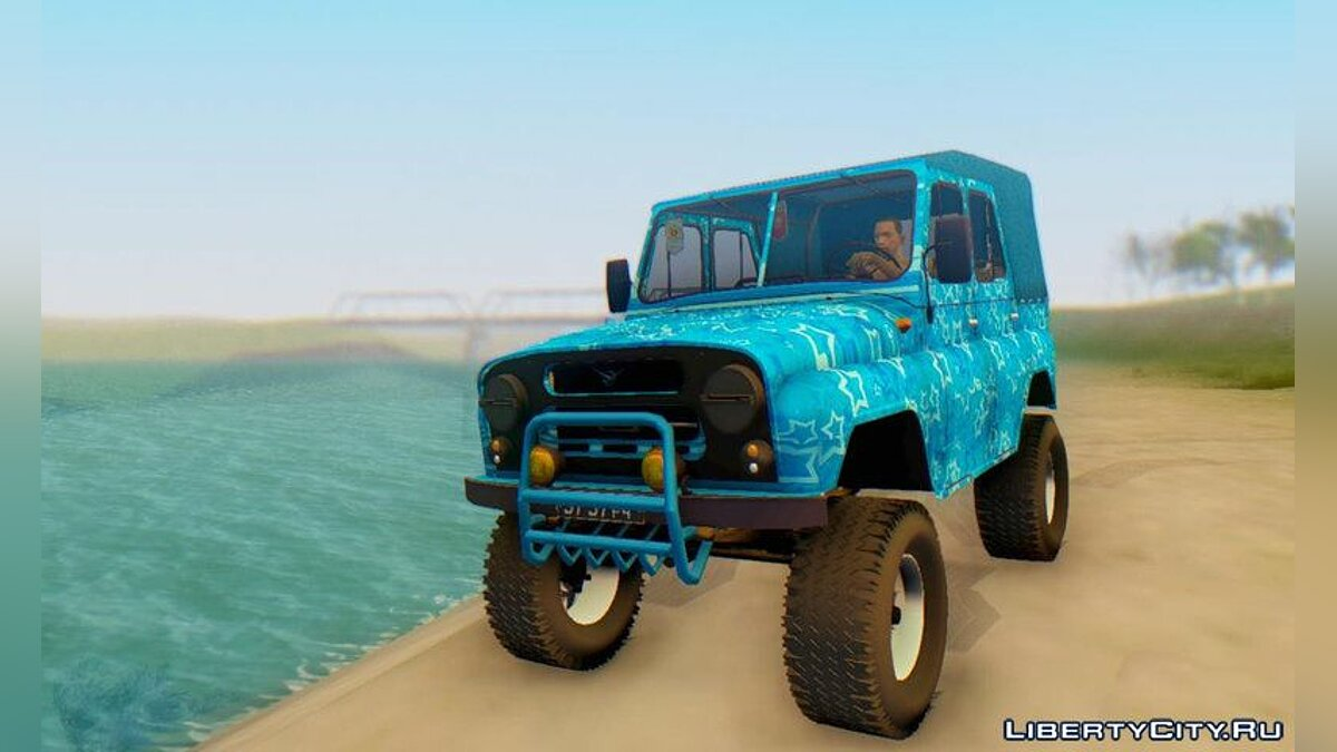 UAZ car UAZ 469 BLUE STAR for GTA San Andreas