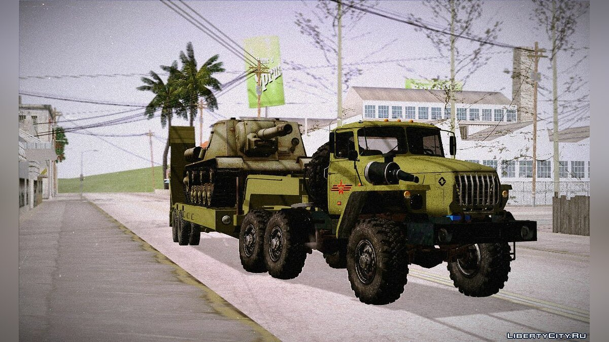 Military vehicle Ural 4320 and Tral with ISU-152 for GTA San Andreas
