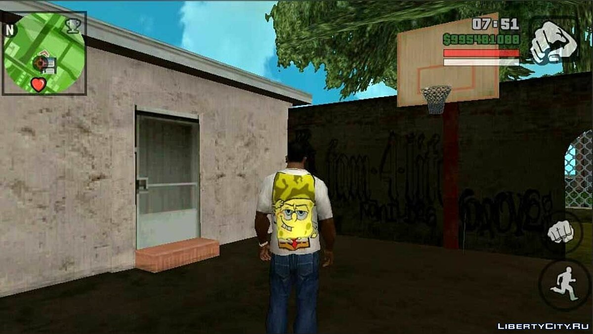 Pullovers and T-shirts T-shirt with SpongeBob for GTA San Andreas (iOS, Android)