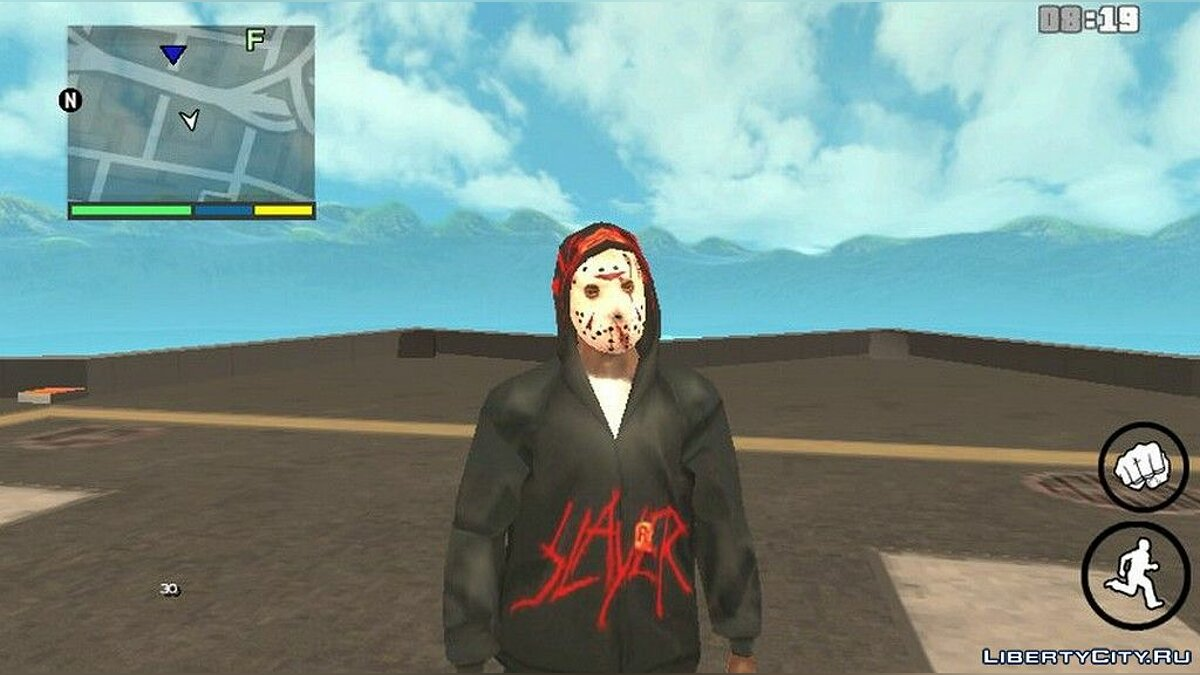 Pullovers and T-shirts Blood sweatshirt and Jason's mask for GTA San Andreas (iOS, Android)