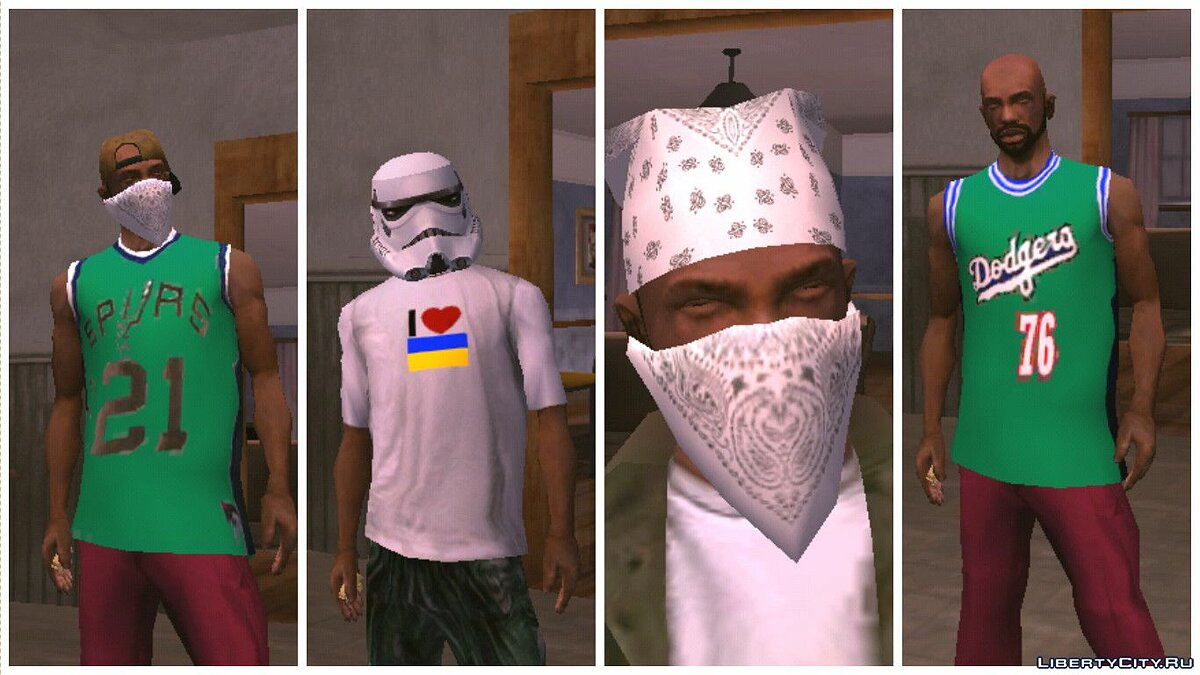 Pullovers and T-shirts Большой сборник одежды for GTA San Andreas (iOS, Android)