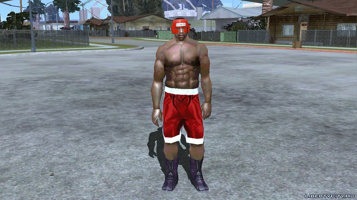 New character Carl Johnson in boxing uniforms (like a ped) for GTA San Andreas (iOS, Android)