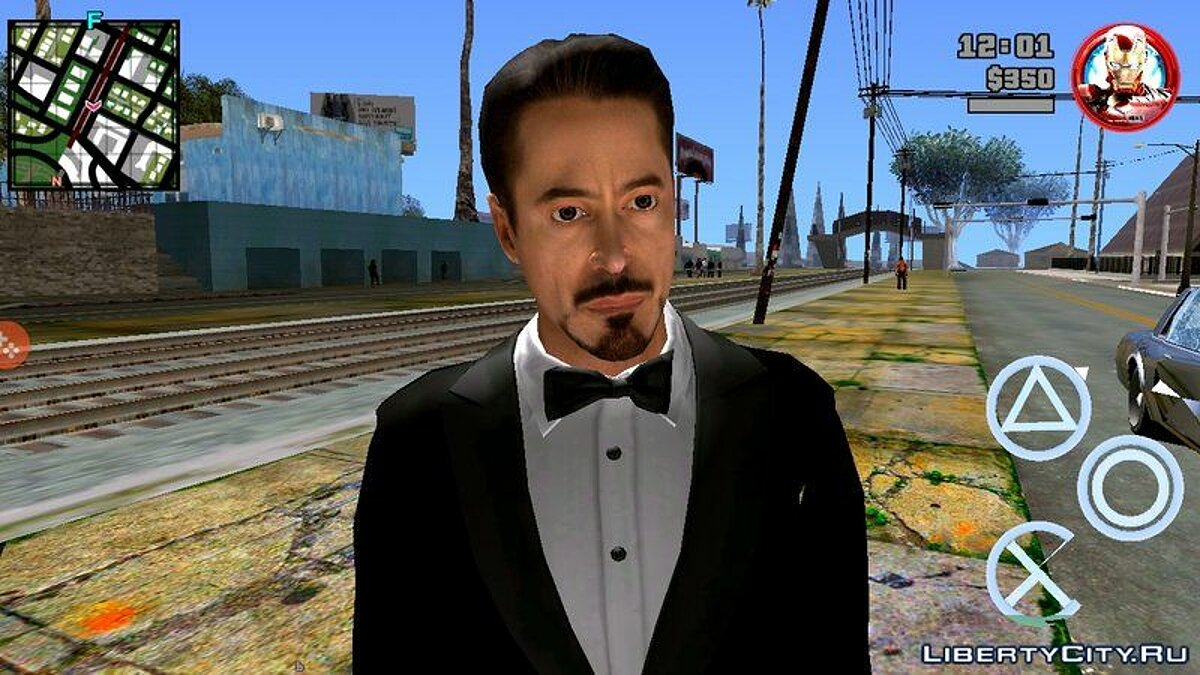 New character Tony Stark in a black suit for GTA San Andreas (iOS, Android)