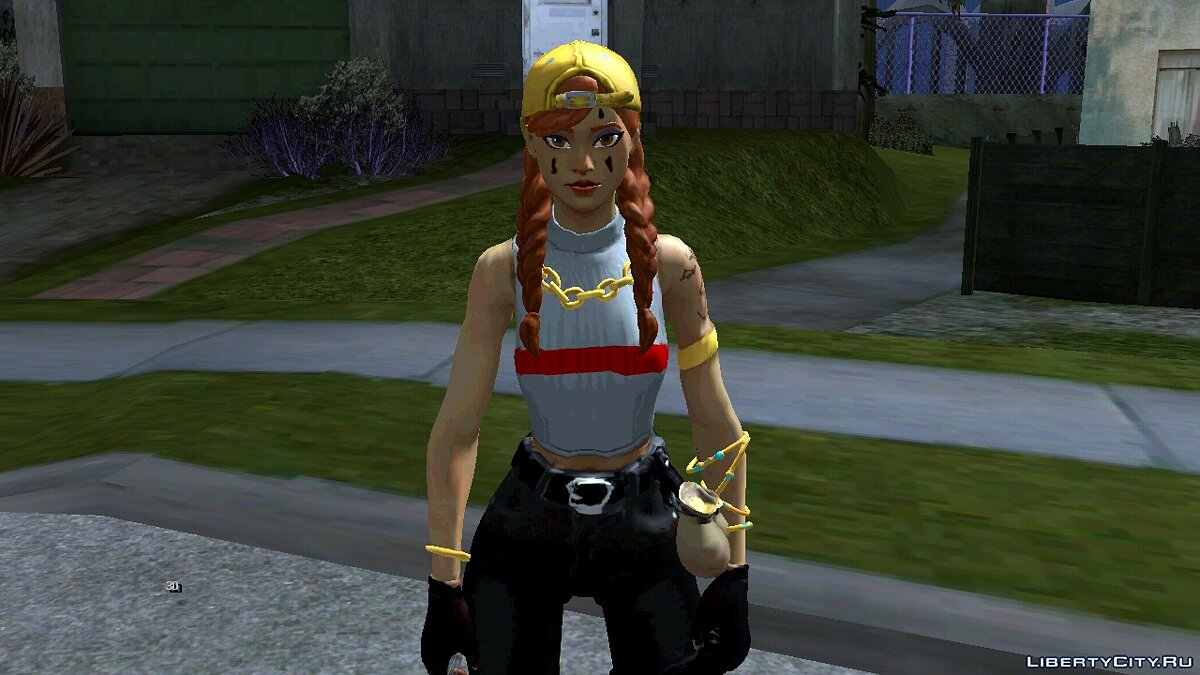 New character Aura from Fortnight for GTA San Andreas (iOS, Android)