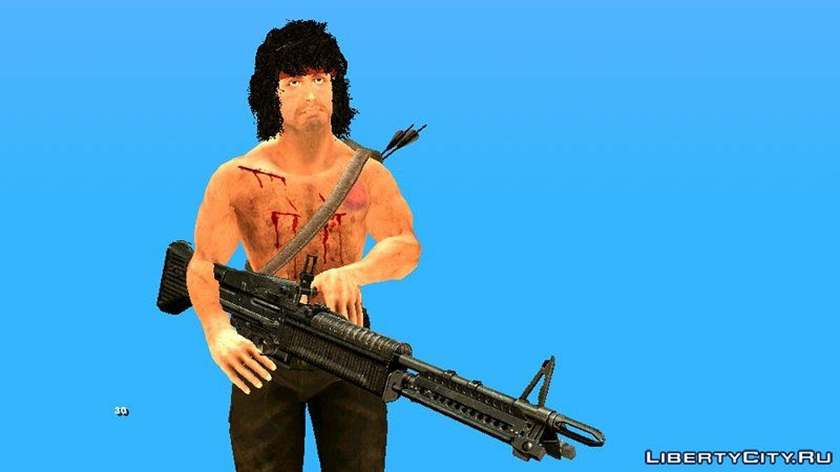New character Rambo with weapons for GTA San Andreas (iOS, Android)