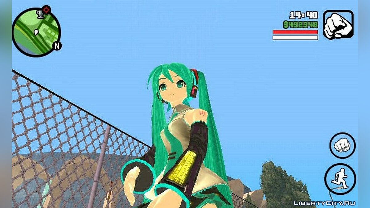 New character Miku Hatsune from anime for GTA San Andreas (iOS, Android)