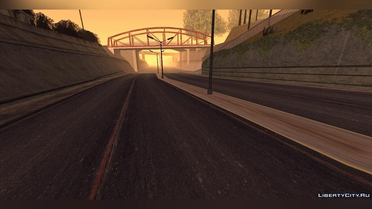 Texture mod Retexturing roads across the state for GTA San Andreas (iOS, Android)