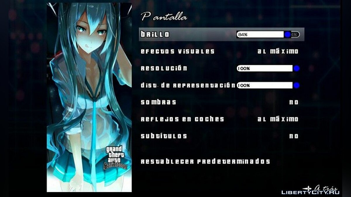 Texture mod New loading screen and menu with Hatsune Miku for GTA San Andreas (iOS, Android)