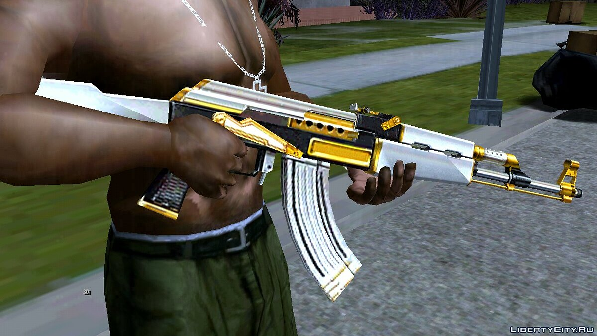 AK-47 White Gold for GTA San Andreas (iOS, Android) - Картинка #1