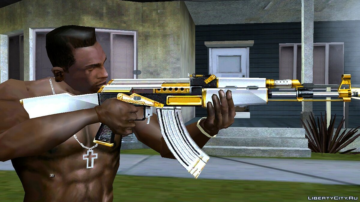 AK-47 White Gold for GTA San Andreas (iOS, Android) - Картинка #2
