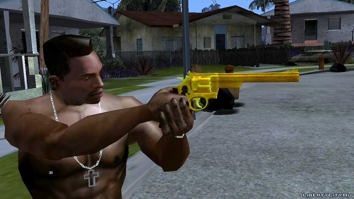 Weapon mod Golden revolver for GTA San Andreas (iOS, Android)