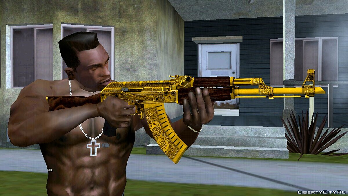 Weapon mod AKM Gold Cartel for GTA San Andreas (iOS, Android)