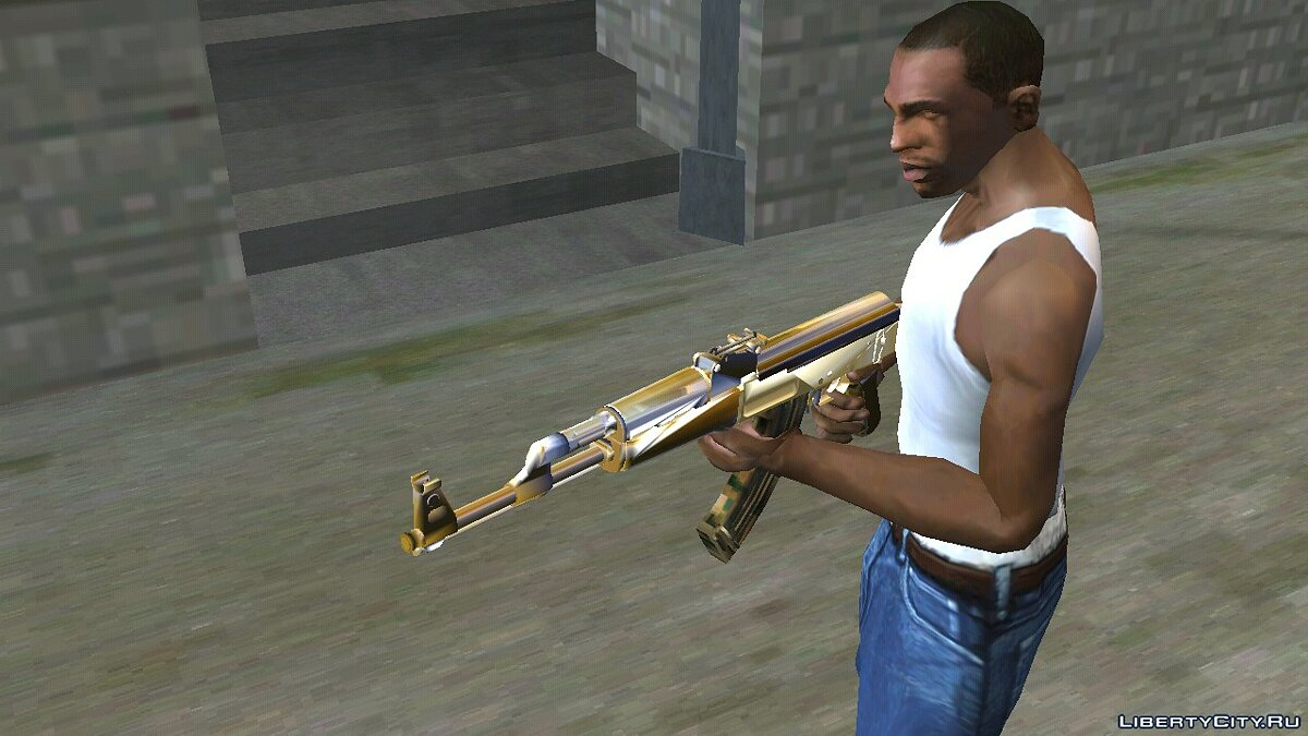 Weapon mod Ak47 Style Golden (DFF only) for GTA San Andreas (iOS, Android)