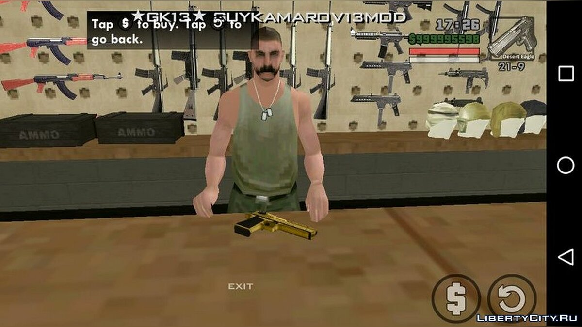 Weapon mod Golden Desert Eagle for GTA San Andreas (iOS, Android)