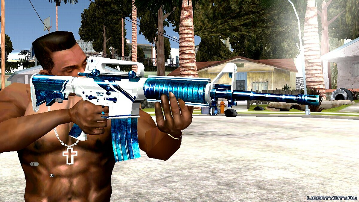 Weapon mod M4A1 Winter Warrior for GTA San Andreas (iOS, Android)