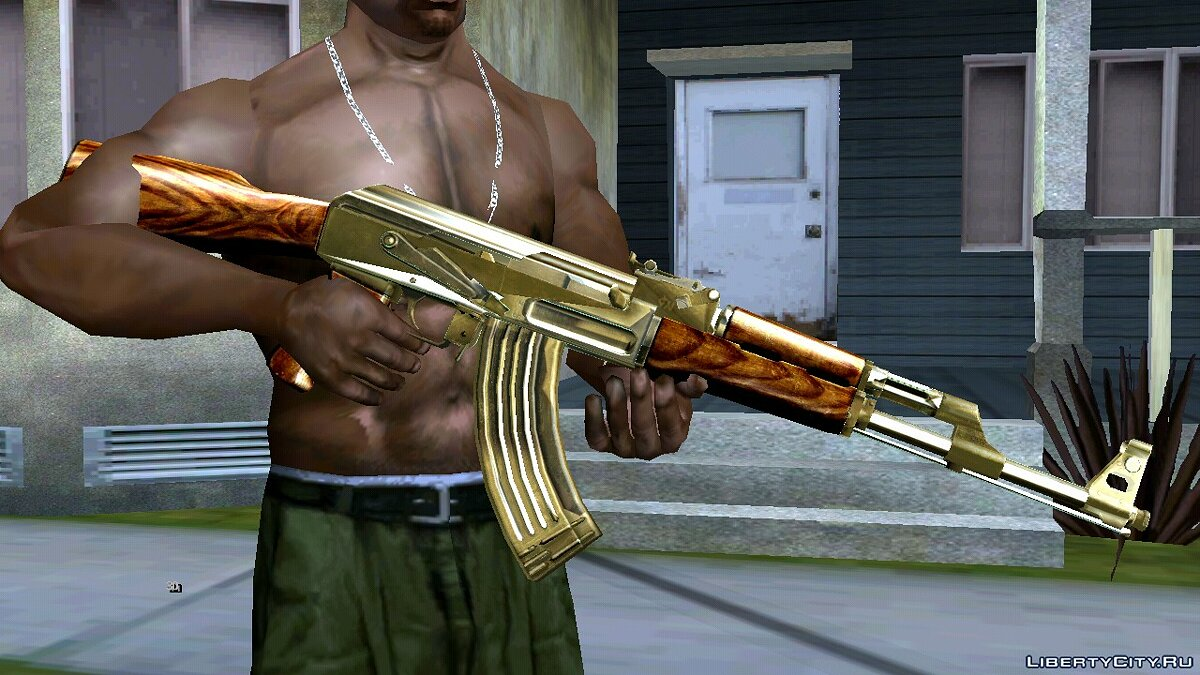 Weapon mod Golden AK-47 for GTA San Andreas (iOS, Android)