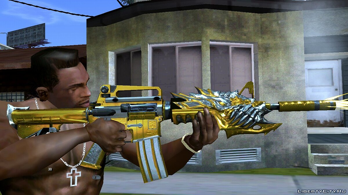 Weapon mod CF M4A1-S Beast Noble Gold for GTA San Andreas (iOS, Android)