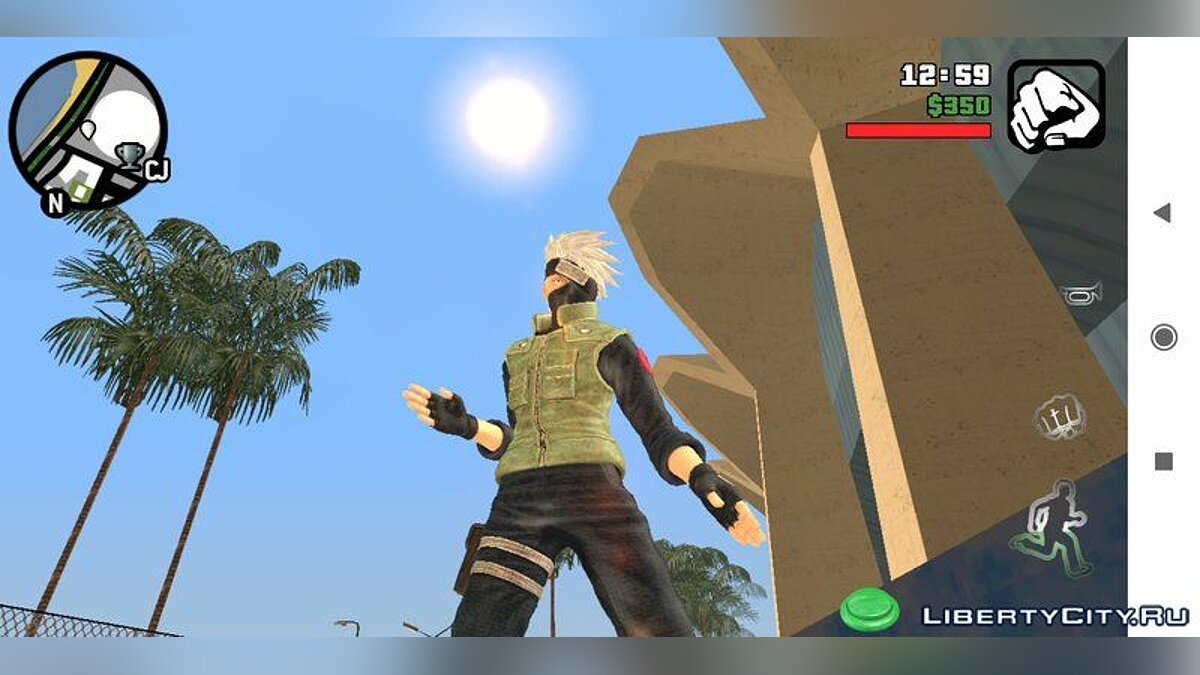 Mod Kakashi skin + big jumps + new battle animation for GTA San Andreas (iOS, Android)