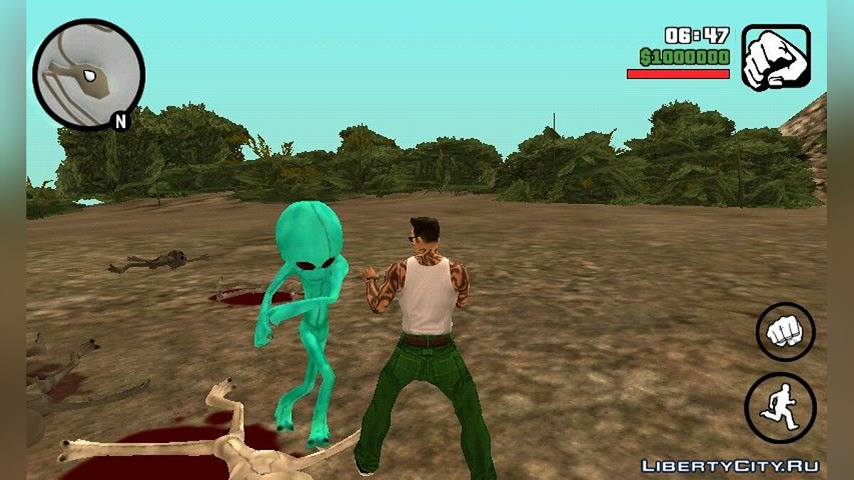 Mod Alien invasion for GTA San Andreas (iOS, Android)