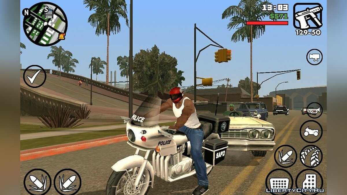 Helmet on motorcycle (Android) for GTA San Andreas (iOS, Android)