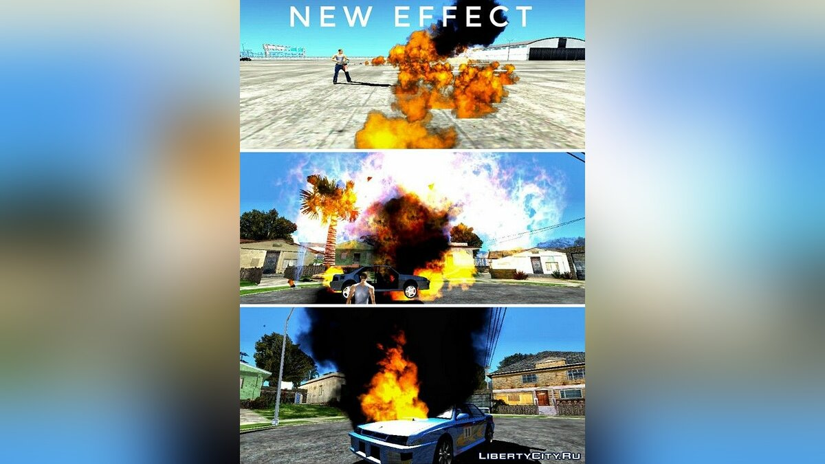 Mod New effects of explosions and particles for GTA San Andreas (iOS, Android)