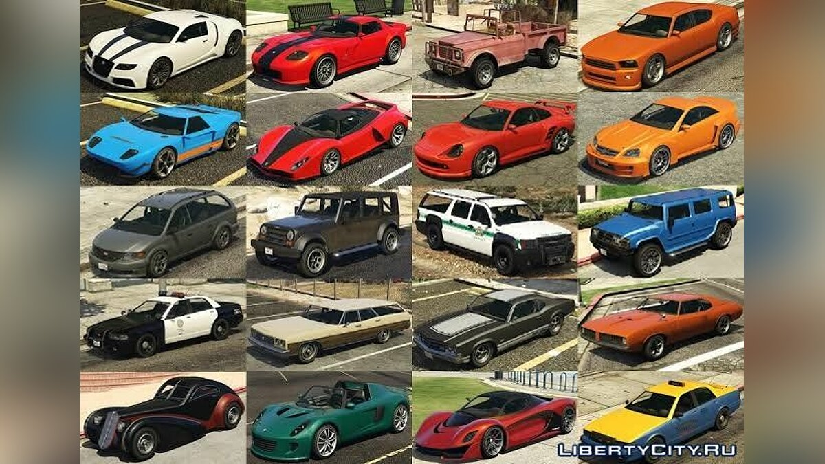 Full pack of cars from GTA 5 for GTA San Andreas (iOS, Android) - Картинка #1