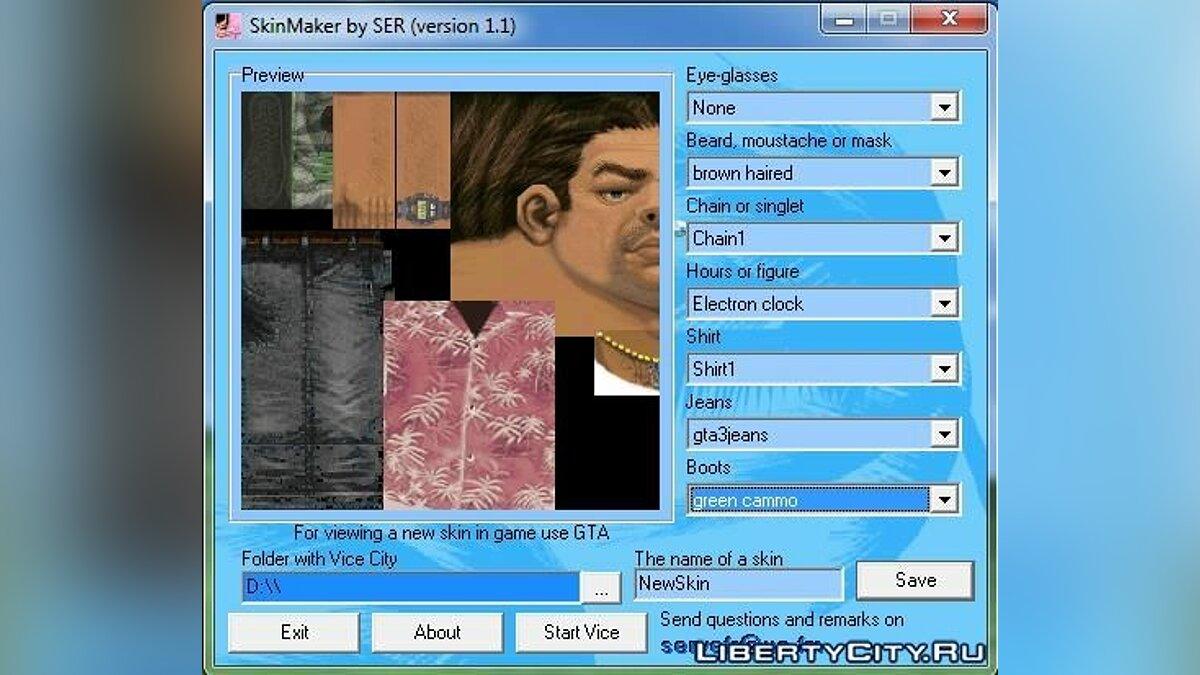 Program Grand Theft Auto Vice City Skin Maker v.1.1 for GTA Vice City