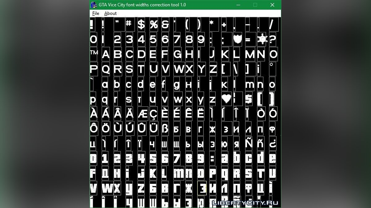Program Vice City font withts Correction Tool for GTA Vice City