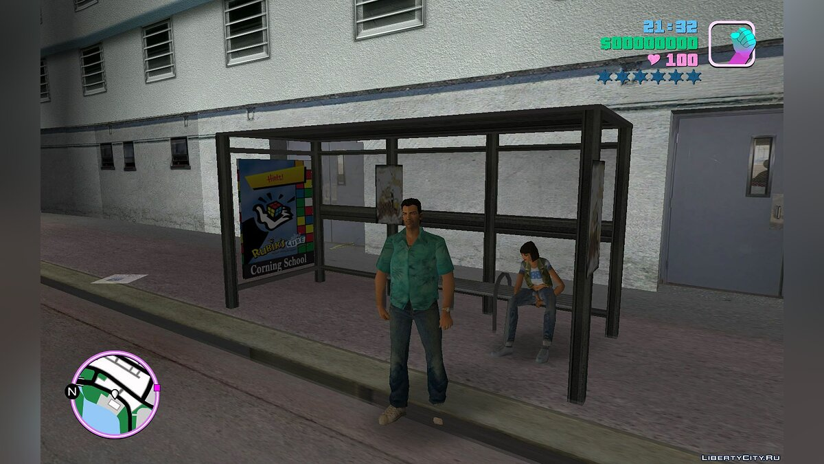 New district HQ VC Bus Shelter v2 for GTA Vice City